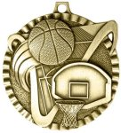 2' Basketball Color Star Medal Awards