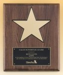 Walnut Stained Piano Finish Plaque with 8 Gold Star Corporate Plaques