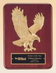 Rosewood Piano Finish Plaque with Gold Eagle Casting Eagle Plaques