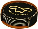 Black Round Leatherette Coaster Set Gift Awards