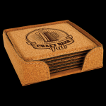 Cork Square Coaster Set with Holder Misc. Gift Awards